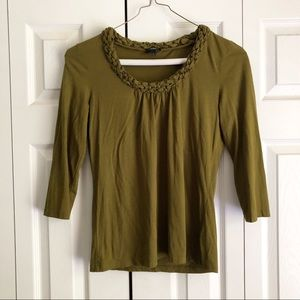 Talbots Olive Green Woven Braided Neck T-Shirt Top